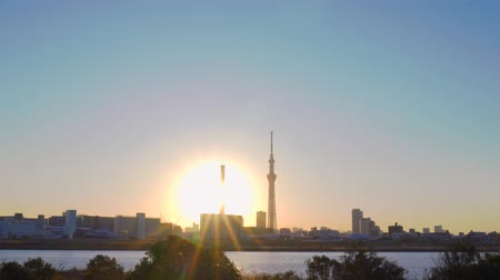[4K recording, no sound] Urban scenery of Tokyo in the sunset seen from Arakawa riverbed [zoomin]