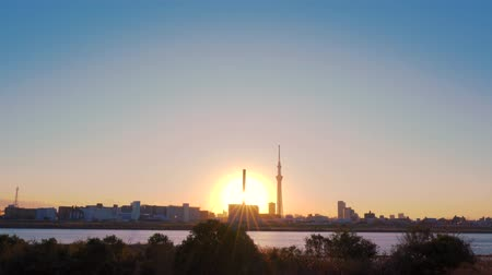 [4K recording, no sound] Urban scenery of Tokyo in the sunset seen from Arakawa