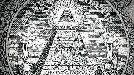 masonic : all-seeing eye on the one dollar. New world order. elite characters. 1 dollar. Mason sign symbol Stock Footage