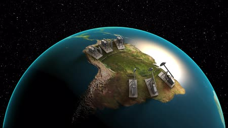 exploration : oilfield extracting crude oil from the lands of the South America, loopable view from space