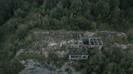 carrancudo : Abandoned building.Aerial view.Flying over the built building Stock Footage