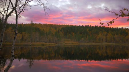 Bright sky at sunset.Lake in autumn forest