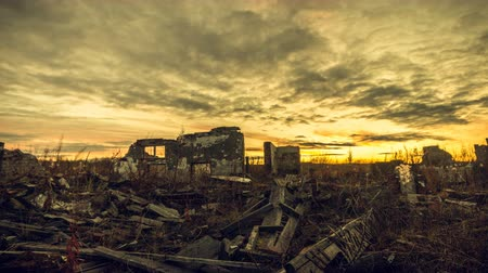 carrancudo : Apocalyptic landscape. The ruins of the buildings were destroyed at sunset