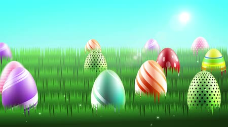 wielkanoc tło : easter eggs motion graphic cartoon
