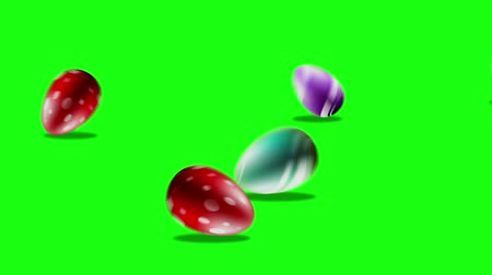 Easter eggs isolated on green screen motion graphic Stock Footage