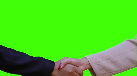 hand shake for success with green screen