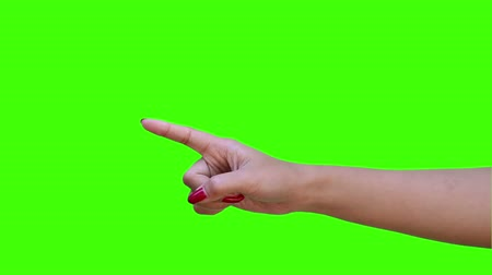 hand pointing with green screen Stock Footage