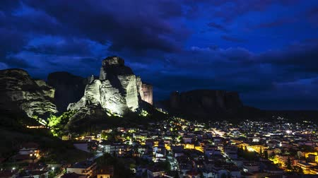 kalambaka : View of Meteora rocks and Kalambaka and Kastraki villages, Thessaly, Greece, at night - timelapse Stock Footage