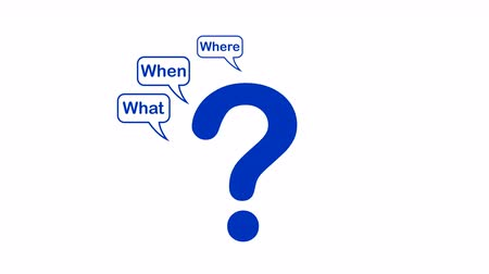 noktalama : Video animation of Questions mark, what, when, where, why, who, how on isolated  white background