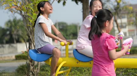 Happy children playing seesaw in the playgroud outdoor.