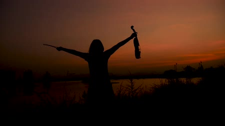 excluir : Silhouette woman raising her violin and spinning.