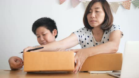 sme : Boy help his mother working at home, Asian Woman Working at home, business start up for Business Online, SME, Delivery Project, Woman with Online Business or SME. Stock Footage