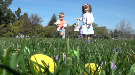 polního : Slow motion of kids having fun gathering eggs at Easter hunt
