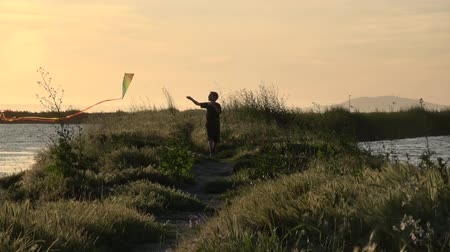 osoba : Slow motion silhouette of boy running with kite at sunset Wideo