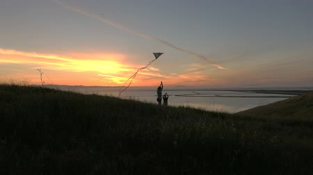 magasság : Silhouette of family flying kite together at sunset slow motion HD Stock mozgókép