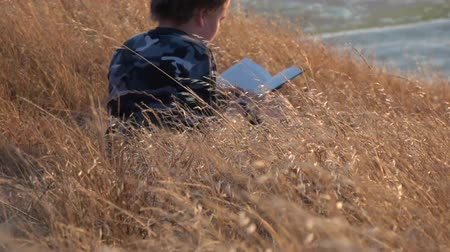 Boy reading book outside at sunset Stok Video