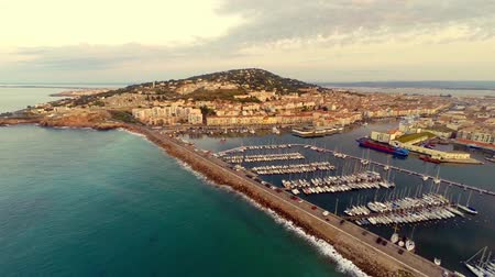 sete : aerial view of port area of sete, france