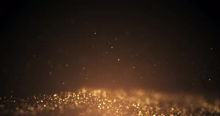 prach : Gold Particles motion flickering  Loop seamless. Particle gold dust flickering on black background.abstract Footage background for text.