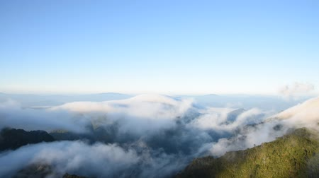 tourism : Clouds running over mountain view from the top Doi Luang Chiang Dao.
