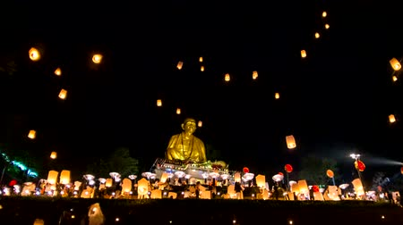 peng : Time Lapse People release floating lamp on sky in Loy Krathong Festival or Yi Peng tradition of the north THailand.