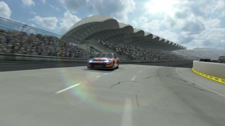 baixo ângulo : Race car along the racetrack. Tow version of background. CG Animation - hight quality, fullHD
