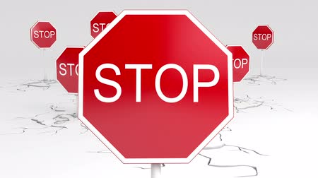 znak : Caution! Stop sign animation. Two versions - with and without a depth of field