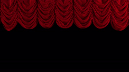 scena : Red Stage Curtain. High quality computer animation.