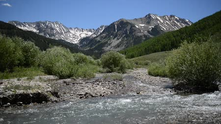 Mountain scene with clear, clean water flowing in river