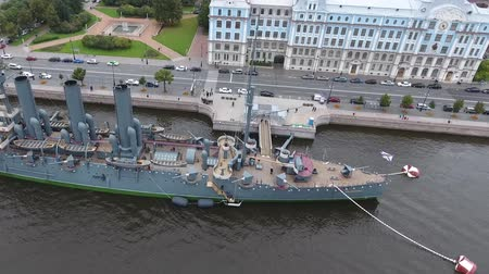 eternal : Cruiser Aurora in the River Neu, the city of St.Petersburg. Open to tourists. The symbol of the revolution of 1917. Stock Footage