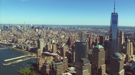 The city of New York is a birds-eye view. Skyscrapers of the city of New York. Wideo