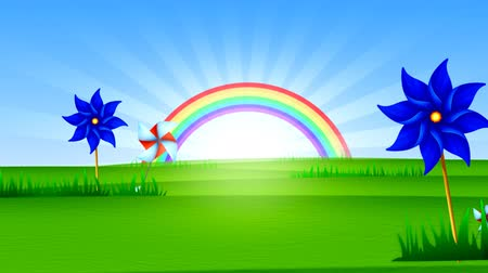 crouch : Sunny rainbow and green meadow.