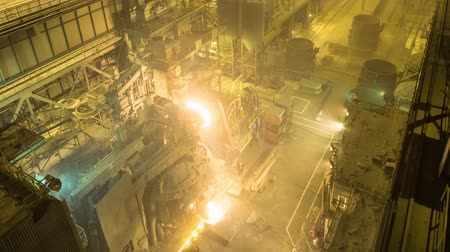blast furnace : Electric arc furnace. Steel melting plant. Metal foundry Stock Footage
