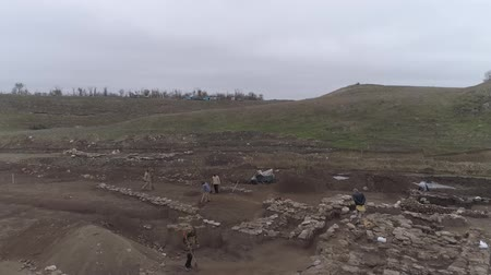 kuban : Taman, Russia - May 20, 2016: Archaeological excavations of the ancient city in the construction sites of the Crimean bridge. Ancient town excavations of archaeologists.