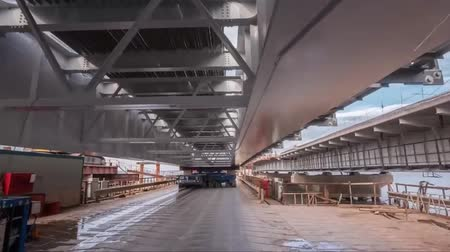 krym : Timelapse construction of the Crimean bridge. Construction and installation of bridge structures. Wideo