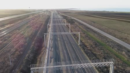 crosstie : Railway. The rails and sleepers of the railway are seen from above Stock Footage
