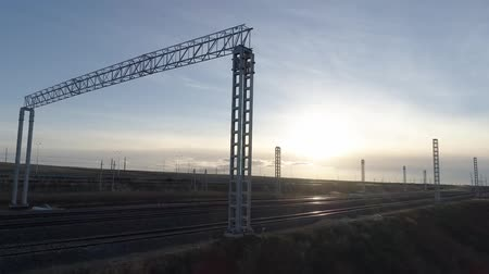 railroadtracks : Railway. The rails and sleepers of the railway are seen from above Stock Footage