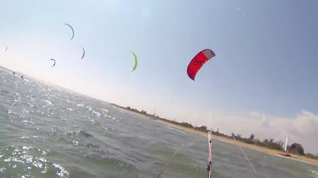 Paragliding over the coast and the sea. Recreational paragliding. Wideo
