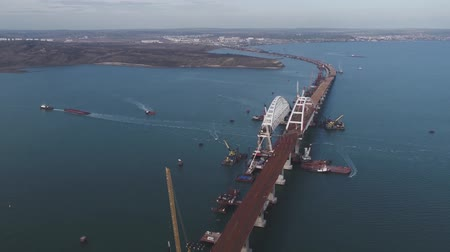 Arch of the Crimean bridge. Construction of the Crimean bridge. Grandiose construction in the Kerch Strait. Wideo