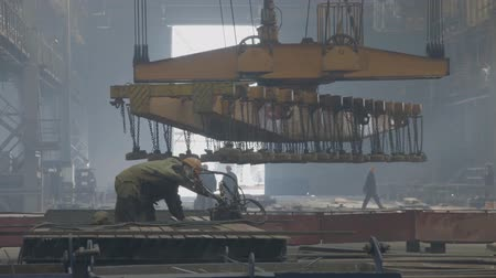 marine technology : Novorossiysk, Russia - May 26, 2018: Shipbuilding plant, Internal welding workshop m erection of metal structures. The plant in Novorossiysk.