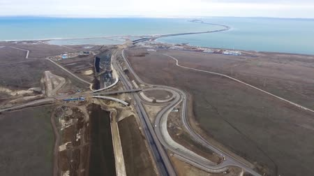 driveway : New roads are entrances to the Crimean bridge. Stock Footage