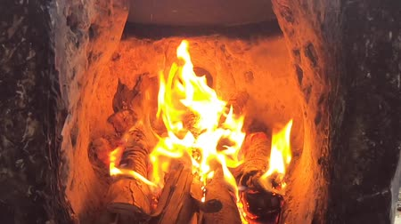 video footage firewood and fire ,bright flame in the fireplace . Vídeos