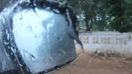 video footage ,Driving on a rainy ,  Rain on windshield.inside the car .