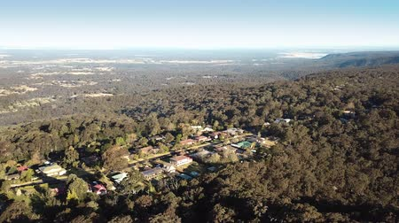 richmond : Aerial view over Bowen Mountain village with Kurrajong farmland and Blue Mountains foothills