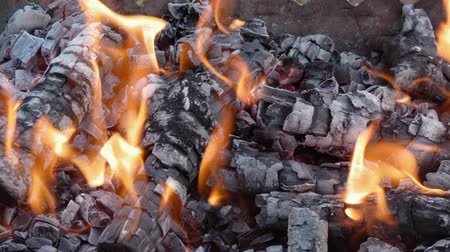 maszat : Fire and coals. Yellow flames. Wood logs burnt in a fire.