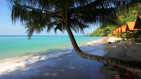 beach panorama : Beautiful tropical beach with sea view, clean water & blue sky.