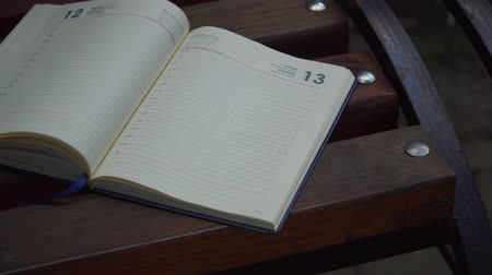 diary : Open Notebook on bench in park, business concept