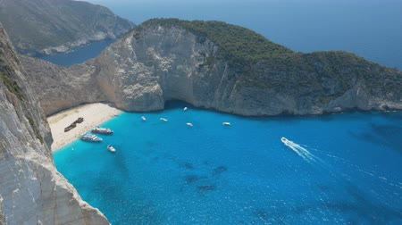 navagio : Footage of sea bay with beach and many boats Stock Footage