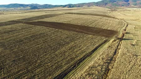 plowed land : Aerial footage of plowed agricultural field before the winter. Stock Footage