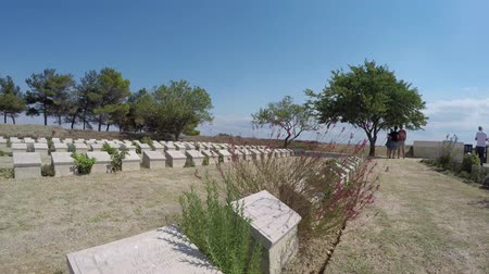 ottoman : CANAKKALE, TURKEY - SEP 9, 2016:Christian Military Cemetery of Seddulbahir in Gallipoli,Canakkale,Turkey.
