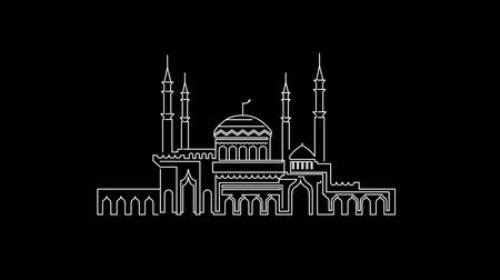 hilâl : Silhouette of Mosque with Minarets and Crescent. Muammad, Ramadan Kareem, Eid Mubarak Stok Video